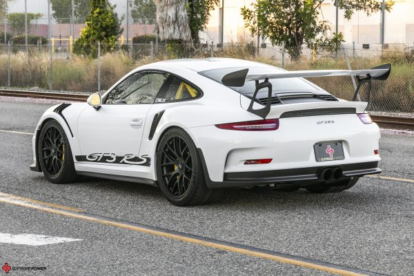 BBS Magnesium Mag Wheels in Black 20x9 and 20x12 White Porsche GT3 GT3RS Side Rear