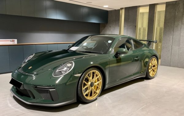 BBS Magnesium Wheels in Gold 20x9 and 20x12 Green Porsche GT3 GT3RS Front