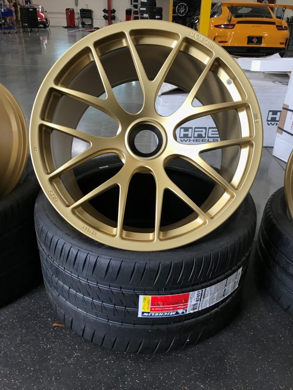 BBS Magnesium Wheels in Gold 20x9 and 20x12 Porsche GT3 GT3RS 325 Michelin Sport Cup 2