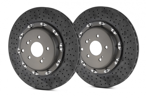 Brembo GT Series CCM-R Cross Drilled 2-Piece Carbon Brake Rotors