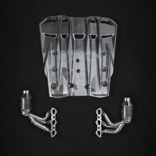 Capristo Headers with 200 Cell Sports Cats and Carbon Engine Cover - 991.2 GT3, 991.2 GT3 RS
