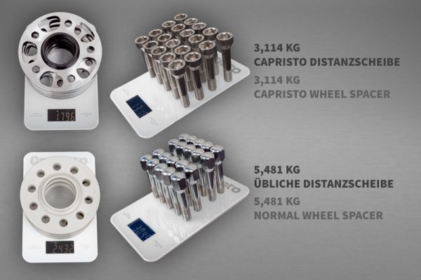 Capristo Wheel Spacers 14mm Front/17mm Rear Circle Shape with Titanium Wheel Bolts - 458 Italia/ 458 Spider, 458 Speciale, FF