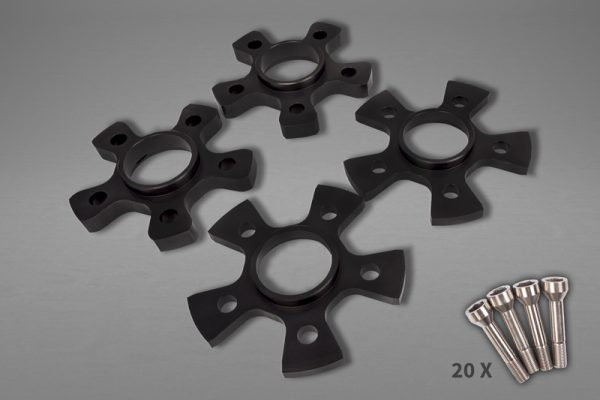 Capristo Wheel Spacers 14mm Front/17mm Rear Star Shape with Titanium Wheel Bolts - 458 Italia / 458 Spider, 458 Speciale